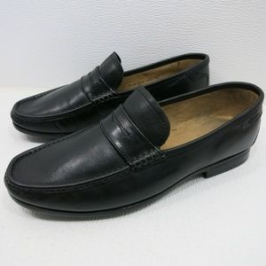 Florsheim Black Strap Leather Dress Loafers 9 EEE